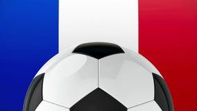 Football on Flag of France. Represents Euro 2016 - France football championship, three-dimensional rendering, 3D illustration royalty free illustration