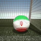 Football with flag of Iran. 3d rendering Royalty Free Stock Photos