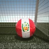 Football with flag of Peru. 3d rendering Royalty Free Stock Photos