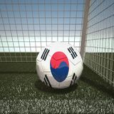 Football with flag of South Korea Stock Photos