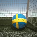 Football with flag of Sweden. 3d rendering Stock Image