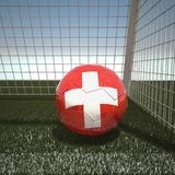Football with flag of Switzerland Stock Photo