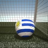 Football with flag of Uruguay. 3d rendering Royalty Free Stock Photos