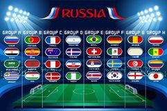 Football flags world cup set vector icons. Football set of world championship groups. Russia football 2018 world cup tournament competition. Vector Illustration stock illustration