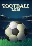Football 2018 with flair. The ball is in the night football field. World Cup 2018 royalty free illustration
