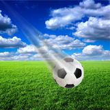 Football in flight Royalty Free Stock Photo