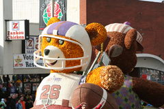 Football Float. Rose Parade with a float with a Teddy bear dressed as a football player Stock Image