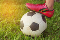 Football and foot on the green grass. Football and foot on the green grass royalty free stock photography