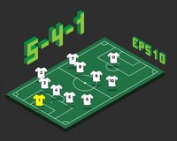 Football 5-4-1 formation with isometric field stock illustration