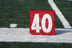 Football forty yard marker stock image