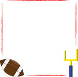 Football frame. Red grunge border frame with football and goalpost Stock Photos