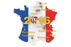 Football in France 2016 concept. 3D rendering stock illustration
