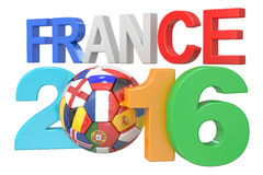Football France 2016 concept. 3D rendering Stock Image