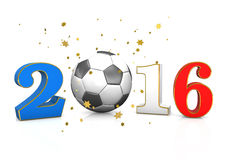 Football France 2016. Date 2016 with football and golden stars on the white. 3d illustration Stock Photography