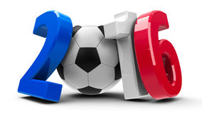 Football France 2016  3. Figures 2016 in the colors of french flag with football  on white background, represents Euro 2016 - France football championship, three Stock Photo
