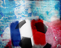 Football on France's flag colored background Stock Image