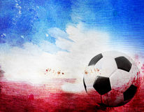 Football on France's flag colored background Stock Photos