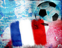 Football on France's flag colored background Royalty Free Stock Image