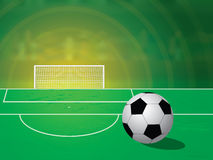 Football free kick spot. Soccer ball on the free kick spot at the stadium. Glow Royalty Free Stock Photos