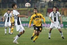 Football game between Ari and Paok Stock Photos