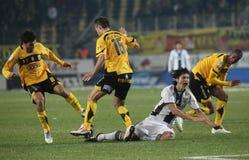 Football game between Ari and Paok Royalty Free Stock Photos