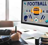 Football Game Ball Play Sports Graphics Concept Stock Image