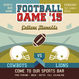 Football game college playoffs. Sports event poster Royalty Free Stock Photography