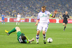 Football game FC Dynamo Kyiv vs FC Dnipro Stock Image