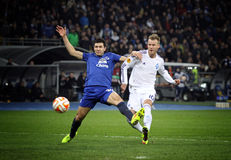Football game FC Dynamo Kyiv vs FC Everton Royalty Free Stock Photography