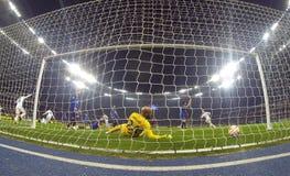Football game FC Dynamo Kyiv vs FC Everton Stock Photo