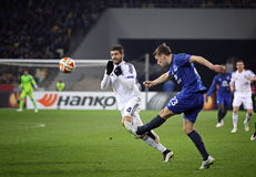 Football game FC Dynamo Kyiv vs FC Everton Royalty Free Stock Photos
