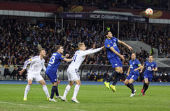 Football game FC Dynamo Kyiv vs FC Everton Royalty Free Stock Image