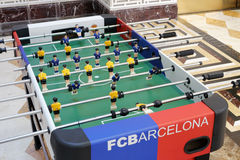 Football game machine. In hall of a company, amoy city, china. chinese people generally like fc barcelona and real madrid soccer team Royalty Free Stock Photos