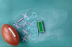 Football with game plan written on cleaned chalkboard. American football with game plan written on cleaned chalkboard stock images