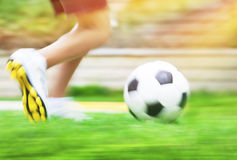 Football game slow motion Royalty Free Stock Images