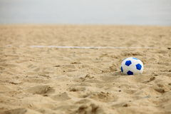 Football gate and ball, beach soccer Royalty Free Stock Image