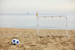 Football gate and ball, beach soccer Royalty Free Stock Images