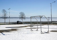 Football gate near lake in spring Royalty Free Stock Photography