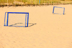 Football gate on sandy beach soccer goal Royalty Free Stock Image