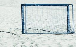 Football gate on sandy beach soccer goal Royalty Free Stock Photos