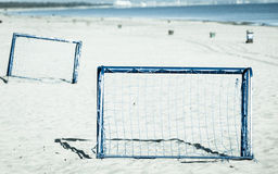 Football gate on sandy beach soccer goal Royalty Free Stock Images