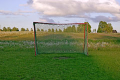 Football gates with nature background Royalty Free Stock Photo