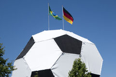 Football with german and brazil flag on top FIFA world cup 2014 Stock Photos
