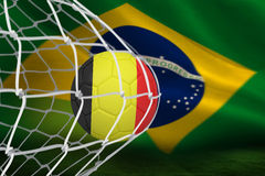 Football in germany colours at back of net Stock Image