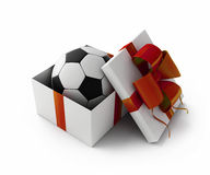 Football in a gift box Stock Photos