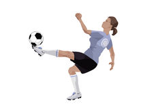 Football girl. Illustration of a girl, playing football. Simple solid fill only - no gradient, no gradient mesh Stock Photography