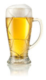 Football glass of light beer isolated on white. Clipp Stock Image