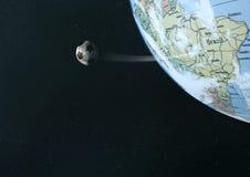 Football globe. Football circling earth in space vector illustration