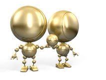 Football glory. Two golden robots footballers hold one football ball Royalty Free Stock Photo