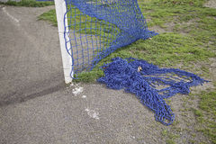 Football goal. Football field detail stadium, competitive sport stock photo